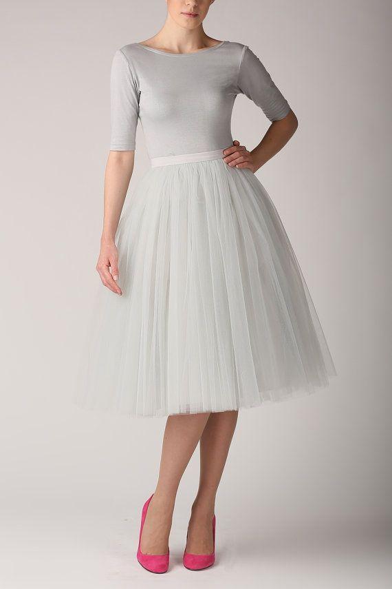 need!!Grey pearl tutu tulle skirt gray petticoat long by Fanfaronada, €125.00