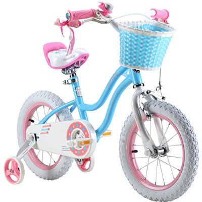 Royalbaby Stargirl Girl's Bike with Training Wheels and Basket, Perfect Gift for Kids. 16 Inch Wheels, Blue