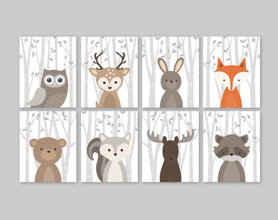 Baby Wall Art for a woodland themed Nursery - Cute forest animals decor for kids bedroom or nursery.  This adorable wall art of eight prints features cute woodland animal illustrations: Owl Deer Rabbit Bear Squirrel Moose Raccoon and Fox on a birch tree background. The background color used is white, but is fully customizable. Just choose the Custom Color option and leave a note for me with the order if any changes are required.   ▶ ITEM DETAILS:  • set of 8 art prints - as shown or CUSTOM…