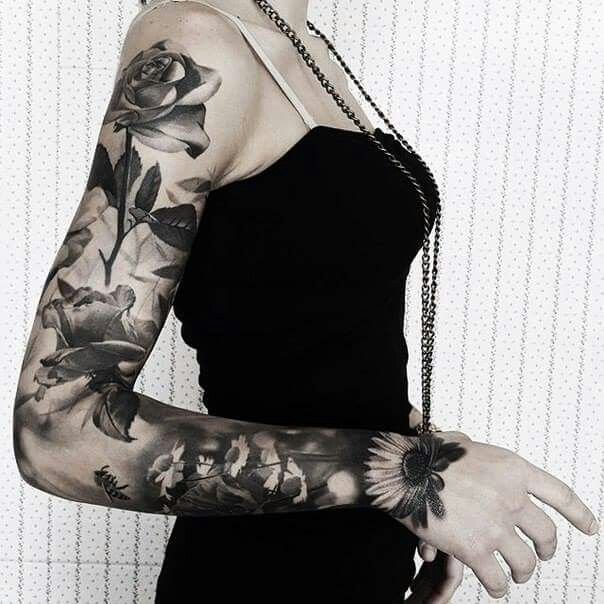 Beautiful black and grey sleeve ink
