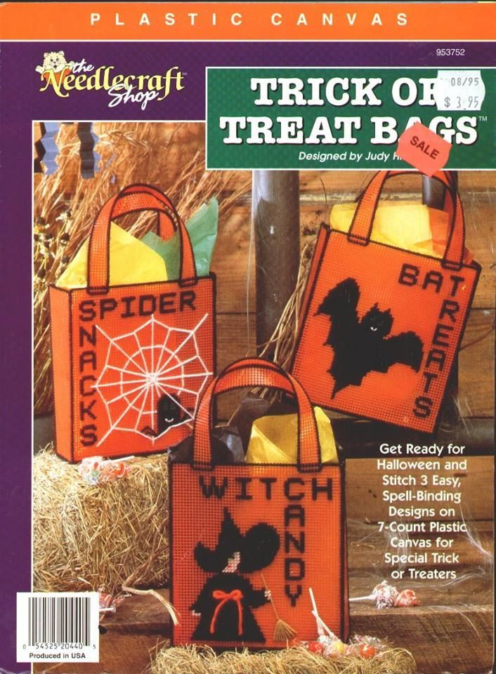 trick or treat bags the needlecraft shop plastic canvas pattern booklet 953752 spider bat witch halloween totes