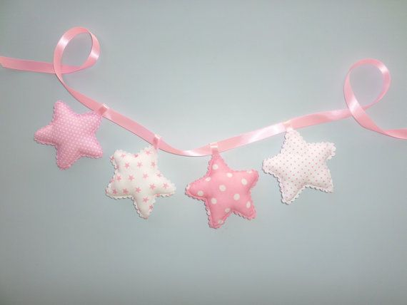 Star garland nursery banner fabric stars by LittleFairyCottage