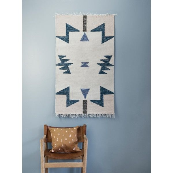 Ferm LIVING Kelim Rug/Wall Hanging Blue Triangles     Kelim Rug With A  Significant Graphic Touch And Colour Palette.Colour: BlueSize: Small 80 X  140 ...