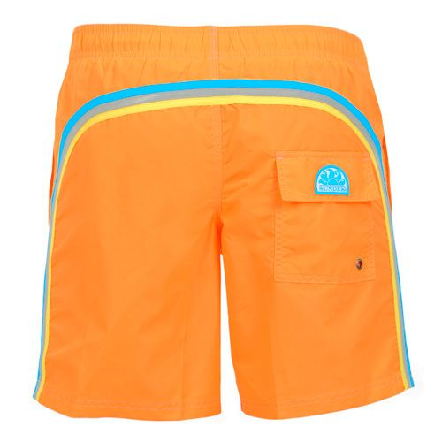 ORANGE LONG SWIM SHORTS WITH ELASTIC WAIST AND RAINBOW BANDS Orange Nylon Taffeta long boardshorts. Three rainbow bands on the back. Elastic waistband with adjustable drawstring. Internal net. Two front pockets Back Velcro pocket. Sundek logo on the back. COMPOSITION: 100% NYLON. Model wears size M he is 189 cm tall and weighs 86 Kg.