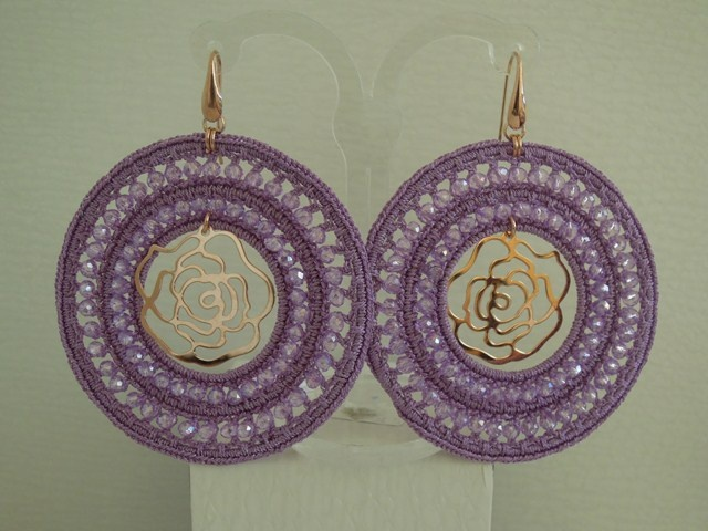fabric earrings with silver central items