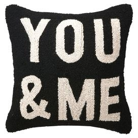 "Hand-hooked wool pillow with block lettering.     Product: PillowConstruction Material: Wool cover and polyester fillColor: Black and whiteFeatures: Insert includedDimensions: 16"" x 16""Cleaning and Care: Spot clean"