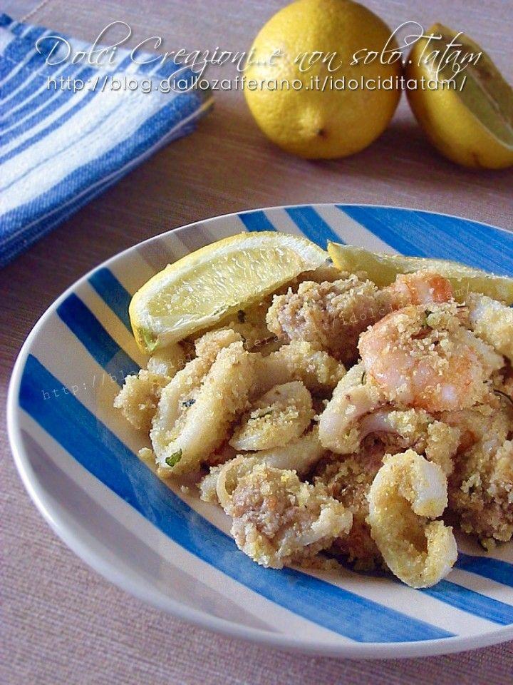 Seppie e gamberi gratinati al forno, al limone