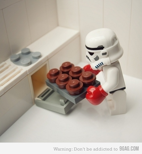 Just a storm trooper baking cupcakes.