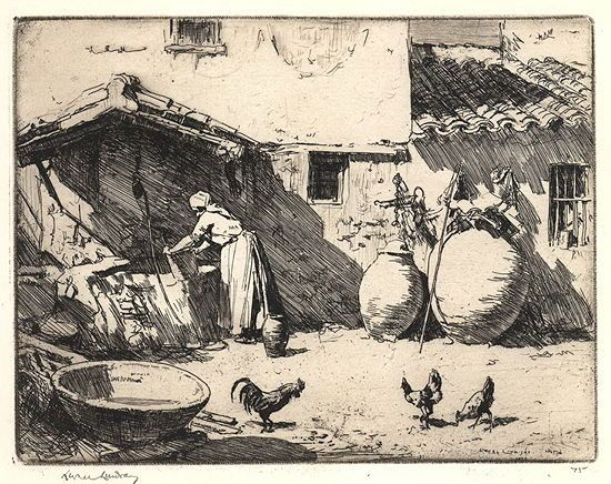 """Sir Lionel Lindsay (Australian, 1874-1961) - """"A Courtyard In New Castile"""", 1926 - Etching"""