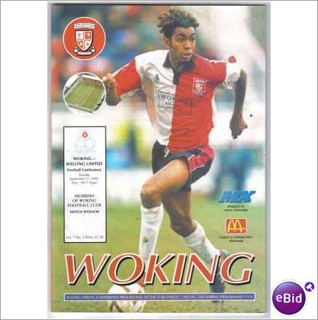 Woking v Welling United Conference Non League Football Programme 15/09/1998 Sale