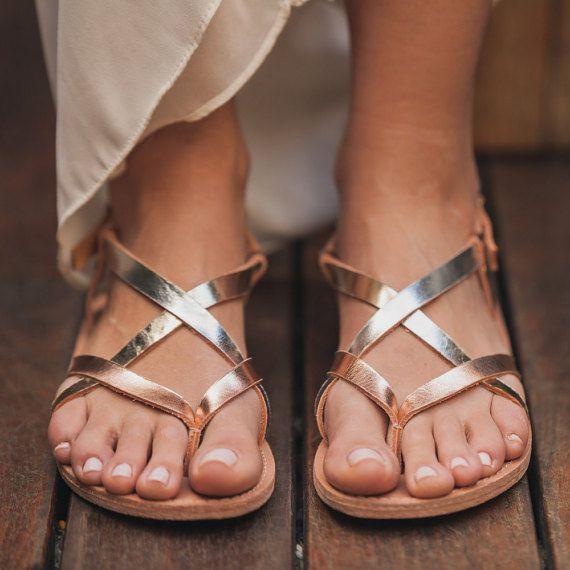 40% OFF de cuero strappy sandalias rosa pisos por TheMerakiCompany