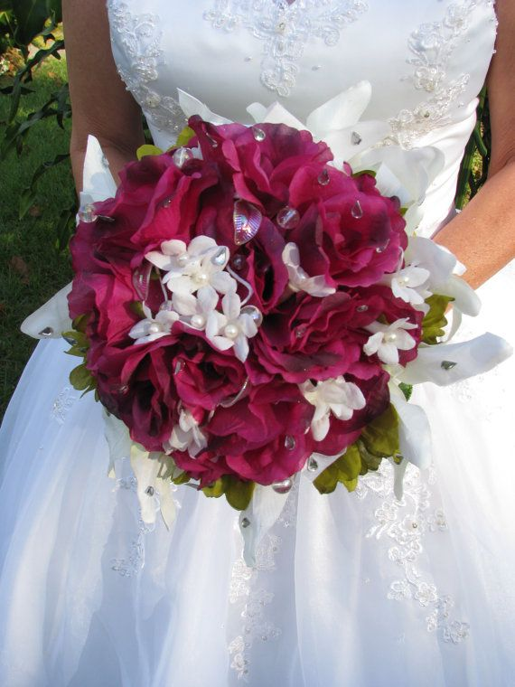 Purple roses and white lilies bouquet Royal by FairytaleBouquets, $75.00