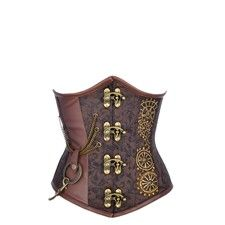 Coffee Underbust Steampunk Corset with Buckle Detail