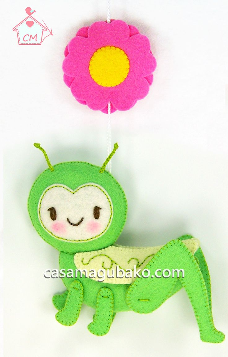 Bug Collection Felt Pattern #casamagubako, #bugs, #grasshopper, # felt, #sewing, #stitching, #feltpattern