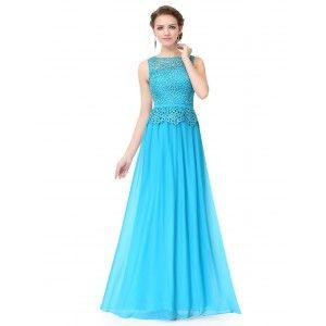 Noblesní dámské dlouhé večerní šaty s krajkou 8904 - azurově modré
