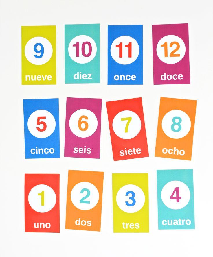 Printable Spanish Counting Flashcards.