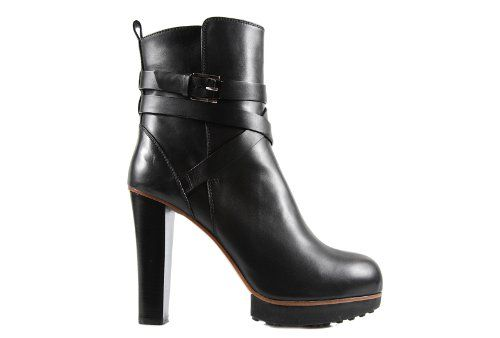 womens leather ankle boots booties with heel black www