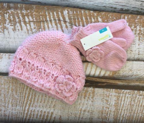 NWT $14.99 Capelli Kids Girls Sz M/L Pink Knitted Beanie Plus Mittens Winter New