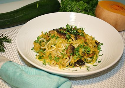 Don't worry, we aren't actually cooking poodles, but we are making parsnip noodles! So since zucchini noodles have been coined 'zoodles,' then let's make these parsnip noodles...poodles! Butternut squash, or butternut pumpkin, is high in vitamin A (just 1 cup gives you more than 450% of your daily needs which is excellent for your skin!). It also provides vitamin C, vitamins B1, B2, B5, B6, folate, magnesium and fiber. You're also consuming a largedose of potassium (582mg for 1 cup) which…