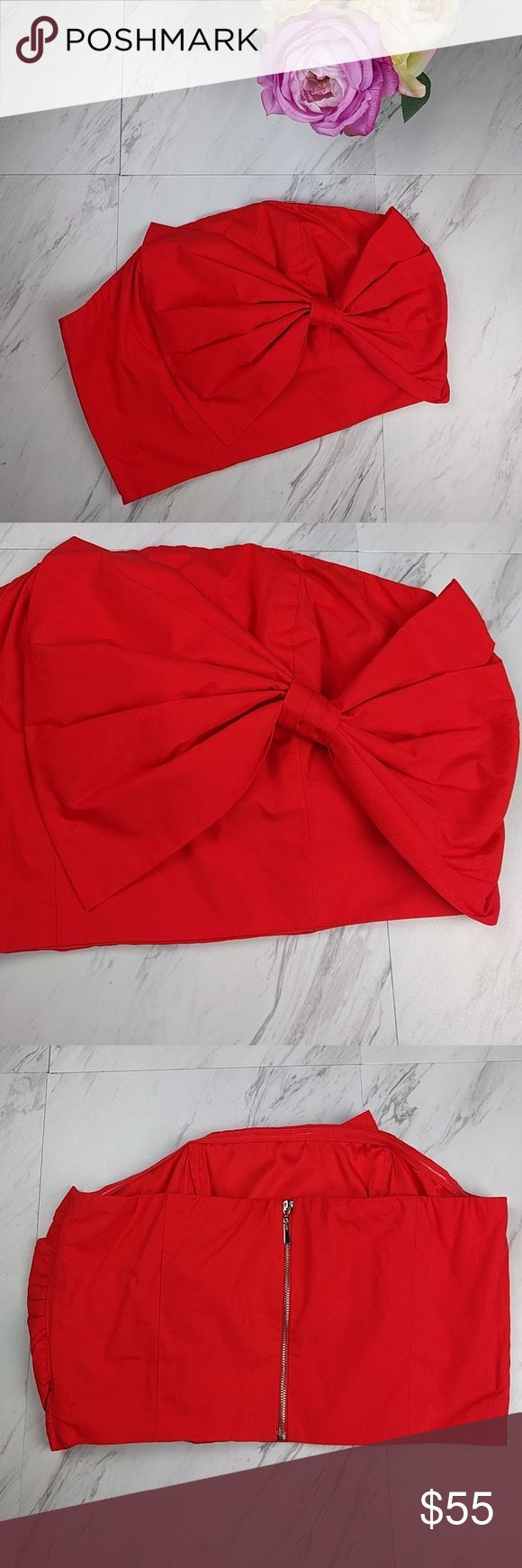 """NWT Gianni Bini Red Bow Crop Top $69 NWT Gianni Bini Red Bow Crop Top SZ S (C21) •Authentic  •Lined •Crop top •Red Bow (to the side) •Exposed back zipper  •B: 15"""" •NWT •Originally $69 •Fast shipping   Measurements are an approximation  Shoes and purse are also listed 10% off 2 or more bundled items Gianni Bini Tops Crop Tops"""