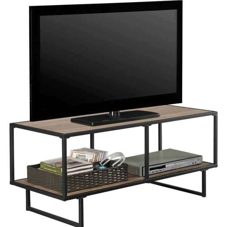 TV Stand And Coffee Table Metal Frame 42 Inch Chic Gunmetal Storage Console #Generic #Contemporary