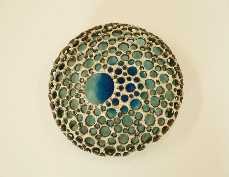 Handbuilt, carved stoneware sculpture, vase.