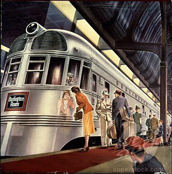 Stock Photo #1060-732, Burlington Railroad Poster The Huntington Library, Art Collections, and Botanical Gardens, San Marino, California