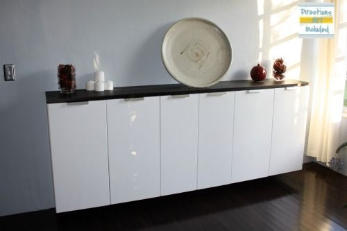 Ikea Faux Credenza : Custom bar from ikea kitchen cabinets dining room