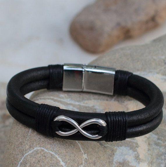 Man Infinity Bracelet Leather Men Infinity Special Gift Bracelet For Men Boyfriend Birthday Gift Valentine's Him Gift Friendship Present