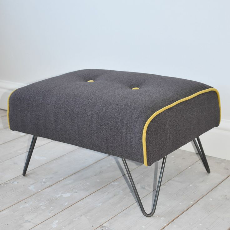 Mid-Century Style Hairpin Leg Footstool Upholstered in Grey Wool by WagnerBirtwistle on Etsy