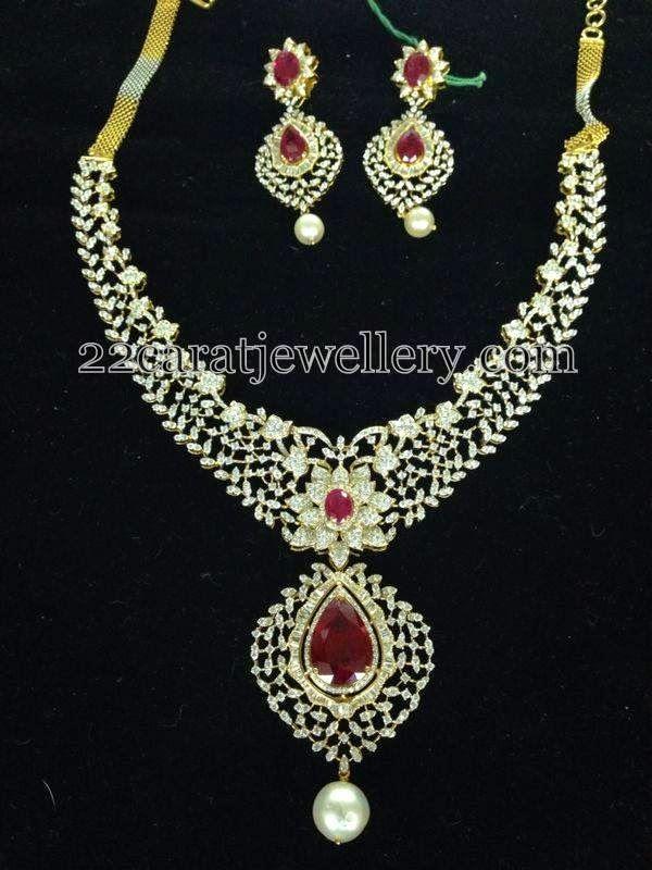 Jewellery Designs: Diamond Floral Necklace
