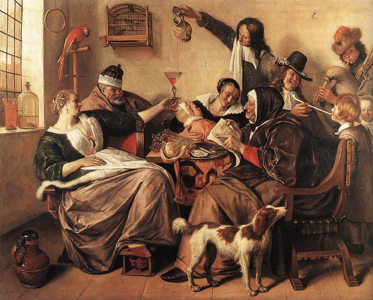 """Jan Steen, """"So the Old Sing, So Twitter the Young"""", 1665, oil on canvas. Mauritshuis, The Hague"""