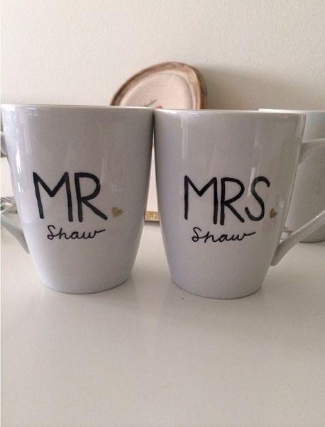 Mr & Mrs mugs. Wedding gift mugs. #psfortysix