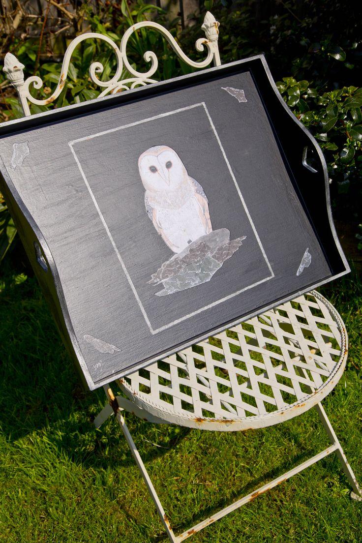 Owl decoupage tray