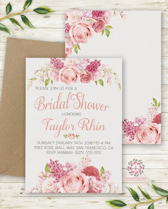 rose blush bridal shower invite invitation 2 sided wedding save the