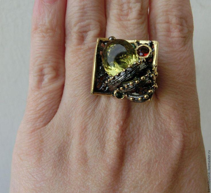 Купить 18,5 р-р Кольцо лимонный кварц гранат серебро 925 пробы золото