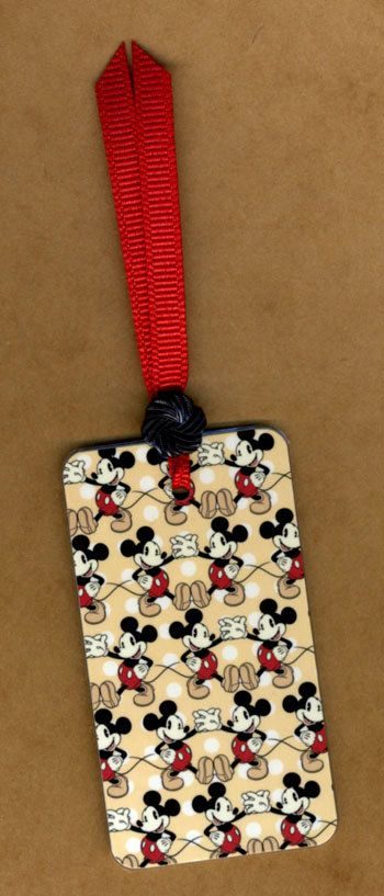 Small MICKEY, MICKEY EVERYWHERE Handmade Bookmark Vintage Miniature Playing Card & Button with Grosgrain Ribbon