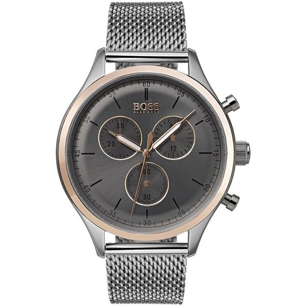 Boss Companion stainless steel and rose-gold chronograph watch (6,030 MXN) ❤ liked on Polyvore featuring men's fashion, men's jewelry, men's watches, mens chronograph watches, mens rose gold watches, mens stainless steel watches and blue dial mens watches
