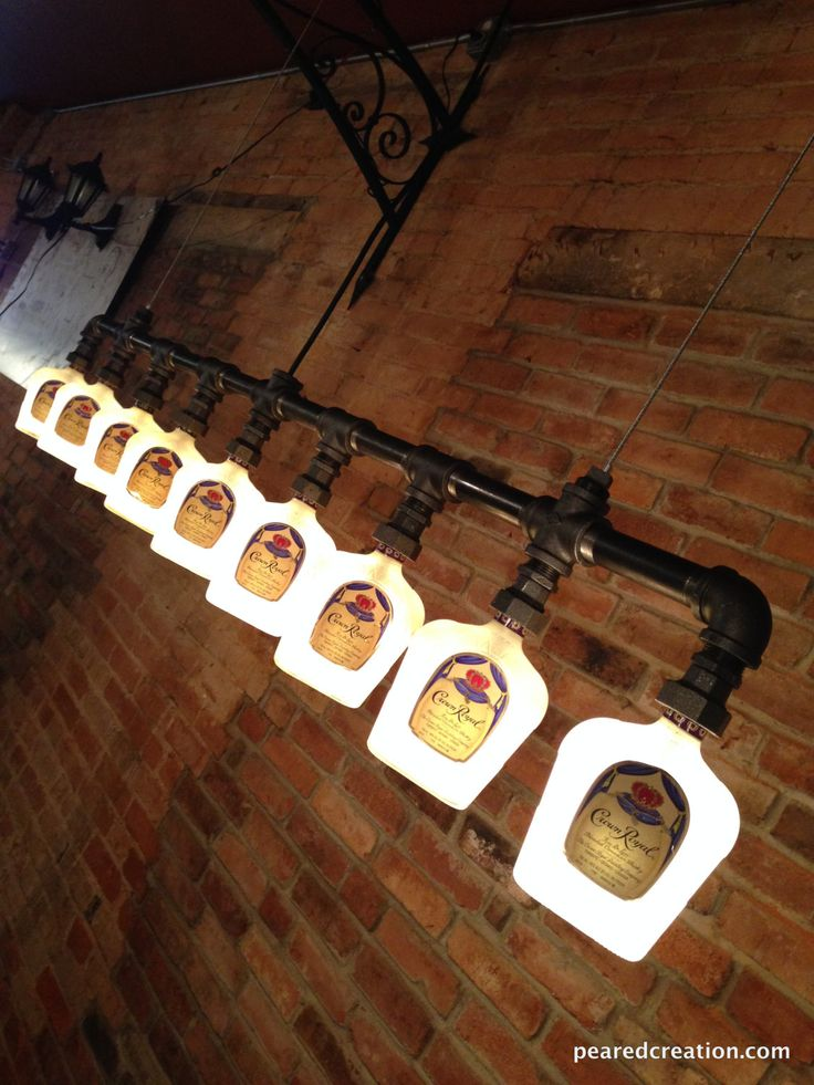 Crown Royal Chandelier Industial Lighting by newwineoldbottles