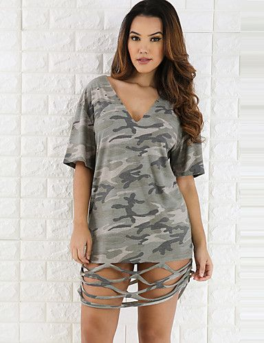 Women's Cut Out Going out Club Sexy Street chic Loose All Match DressCamouflage Cut Out V Neck Mini Short Sleeve Summer Mid Rise 5551734 2017 – £10.91