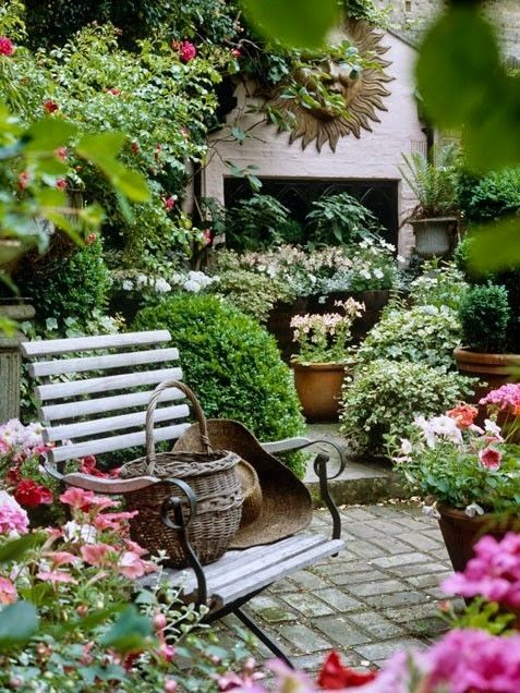 Container Garden Ideas - lots of potted flowers and shrubs add color and height to areas of the patio and garden - Oh so inviting!