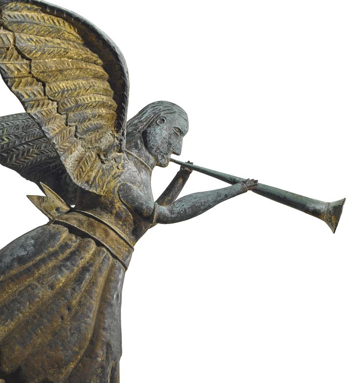 THE ANGEL GABRIEL Cast in the 19th century, probably New England. Molded copper weathervane 28 1/2 by 36 3/4 by 24 1/4 in.