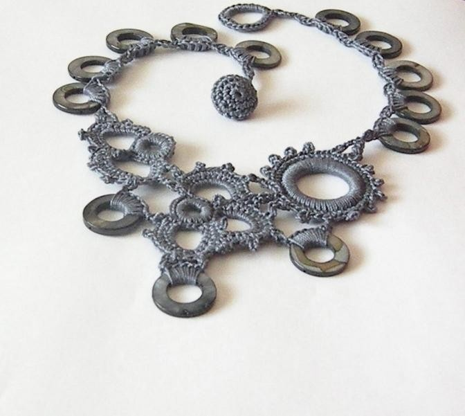 Crocheted lace gears Necklace