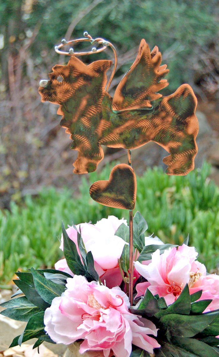Yorkshire Terrier Pet Grave Marker Garden Plant Stake, Metal Garden Art, Copper Art, Dog Pet Memorial, Outdoor Sculpture, Pet Lovers Gift,