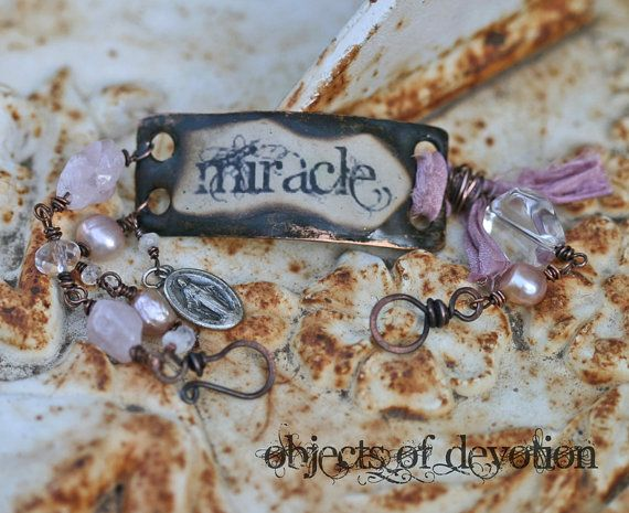 Miracle Bracelet - Religious Jewelry - Inspirational Jewelry - Spiritual Jewelry - Catholic Jewelry - Vintage Miraculous Medal - Mary
