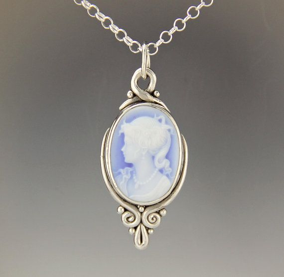 Sterling Silver Pendant With Blue Agate Cameo Victorian Style Etsy Sterling Silver Pendants Pendant Jewelry
