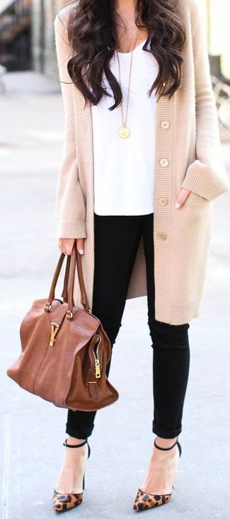 Women's Beige Cardigan, White Tank, Black Skinny Jeans, Brown Leopard Leather Pumps.