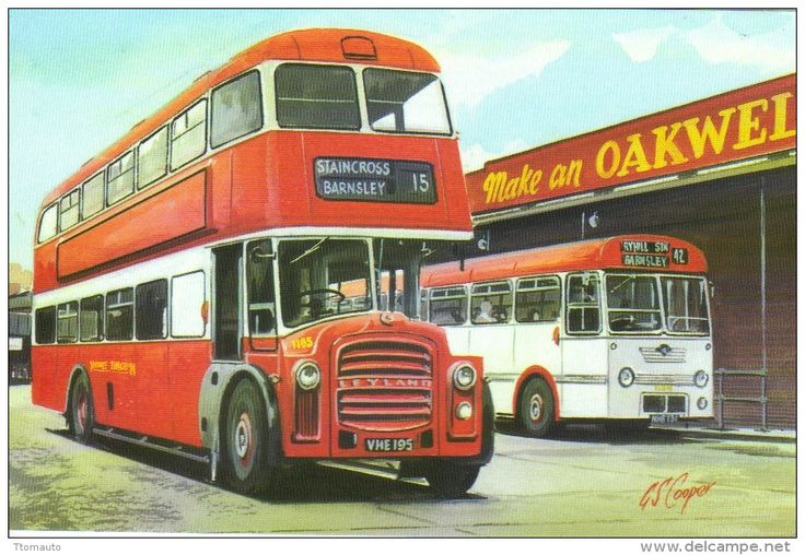 Yorkshire Traction Leyland Titan PD3 bus at Barnsley Bus Station - Art Postcard by Transport Artist G.S.Cooper