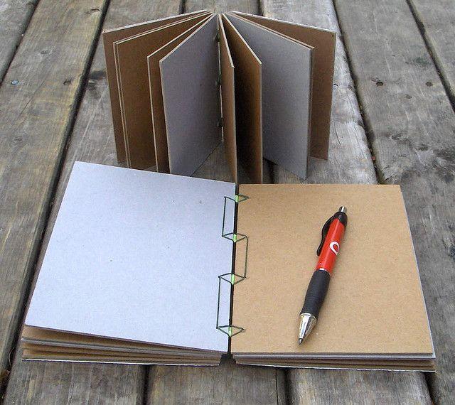 Rhonda Miller / myhandboundbooks.blogspot.com - cardboard books - 18x13x2,5cm/12x9x2,5cm - Japanese binding
