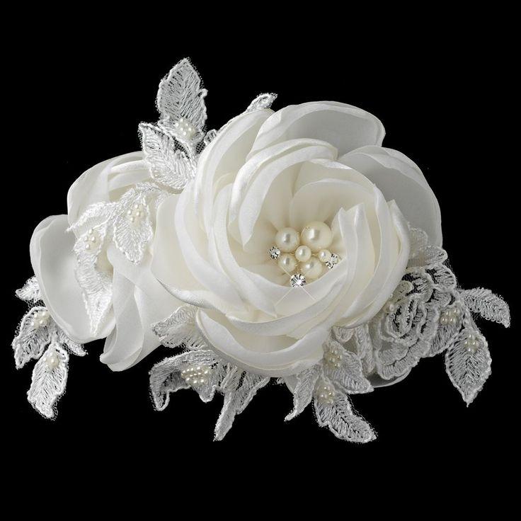 Ivory Satin Lace Tulle Fabric Rose Pearl & Rhinestone Bridal Wedding Hair Clip